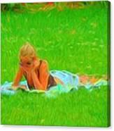 Green Grass Girl Canvas Print