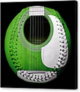 Green Guitar Baseball White Laces Square Canvas Print