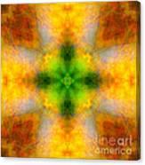 Green Heart Rainbow Light Mandala Canvas Print
