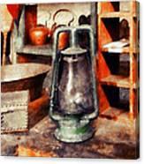 Green Hurricane Lamp In General Store Canvas Print