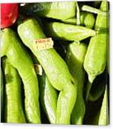 Green Jalpeno Peppers Canvas Print