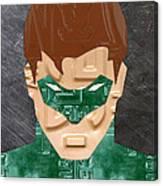 Green Lantern Superhero Portrait Recycled License Plate Art Canvas Print