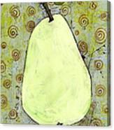 Green Pear Art With Swirls Canvas Print
