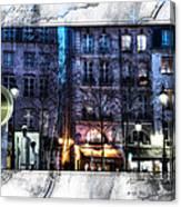 Green Pipes Of Pompidou Center Paris Canvas Print