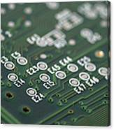 Green Printed Circuit Board Closeup Canvas Print
