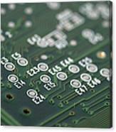 Green Printed Circuit Board Closeup Canvas Print