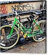 Green Schwinn Bike  Nyc Canvas Print