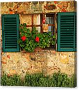 Green Shutters And Window In Chianti Canvas Print