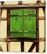 Green Shutters In Colmar France Canvas Print