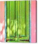 Green Shutters Pink Stucco Wall 2 Canvas Print