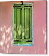 Green Shutters Pink Stucco Wall Canvas Print