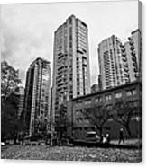 Green Space In Front Of High Rise Apartment Condo Blocks In The West End Between Robson And West Geo Canvas Print