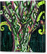 Green Tree With Pink Watercolor Canvas Print