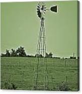 Green Windmill Canvas Print