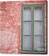 Green Window On Red Wall. Canvas Print