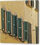 Green Window Shutters Of Florence Canvas Print