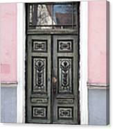 Green Wooden Door In Old Building Canvas Print
