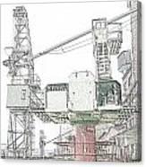 Greencranedigisketch Canvas Print