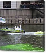 Greening The Chicago River For St Patrick's Day Canvas Print