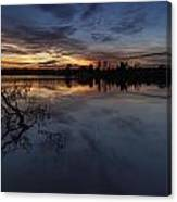 Greenlake Sunset With A Fallen Tree Canvas Print