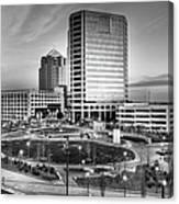 Greensboro Center City Park Bw Canvas Print