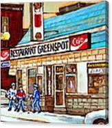 Greenspot Restaurant Notre Dame Street  South West Montreal Paintings Winter Hockey Scenes St. Henri Canvas Print
