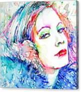 Greta Garbo - Colored Pens Portrait Canvas Print