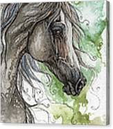Grey Arabian Horse Watercolor Painting 1 Canvas Print