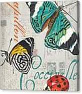 Grey Postcard Butterflies 2 Canvas Print