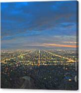 Griffith Observatory L.a. Skyline Dusk Lit Beautiful Canvas Print