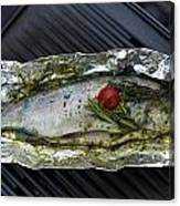 Grilled Trout On Barbecue Canvas Print