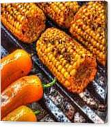 Grilling Corn And Peppers Canvas Print