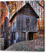 Grist Mill Under Fall Foliage Canvas Print