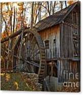 Grist Mill With A Golden Glow Canvas Print