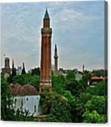 Grooved Minaret Fromthirteenth Century In Antalya-turkey Canvas Print