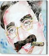 Groucho Marx Watercolor Portrait.2 Canvas Print