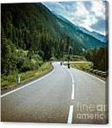 Group Of Bikers On Mountainous Road Canvas Print