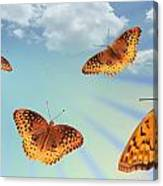 Group Of Butterflies And Sky Canvas Print