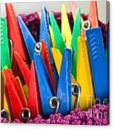 Group Of Colorful Clothespins Canvas Print