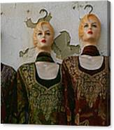 Group Of Mannequins In A Market Stall Canvas Print