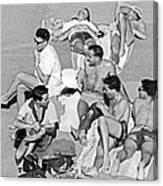 Group Of Men Sunbathing Canvas Print
