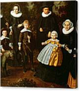 Group Portrait Of Three Generations Of A Family In The Grounds Of A Country House Oil On Canvas Canvas Print