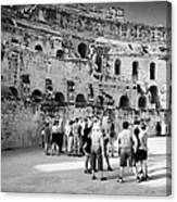 Groups Of Tourists And Guides In The Main Arena Of The Old Roman Colloseum At El Jem Tunisia Canvas Print