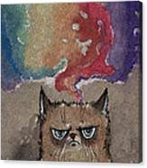 Grumpy Cat And Her Colorful Dreams Canvas Print