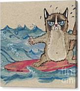 Grumpy Cat Surfing Canvas Print