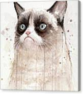 Grumpy Watercolor Cat Canvas Print