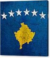 Grunge Kosovo Flag Canvas Print