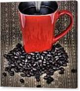 Grunge Red Coffee Mug And Beans Canvas Print