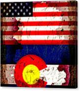 Grunge Style Usa And Colorado Flags Canvas Print