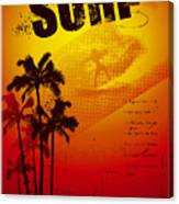 Grunge Surf Poster With Palms And Sunset Canvas Print